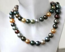 """HUGE 36""""10-13MM GOLD BLACK MULTICOLOR ROUND PEARL NECKLACE"""