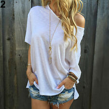 Women Off-shoulder T-shirt Plus Size Loose Glitzy Blouse Tops Summer Shirt