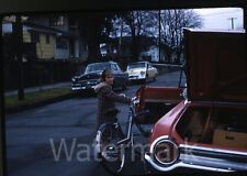 1960s Kodachrome Photo slide Ford Galaxie 500 Car automobile #4 Girl Bicycle