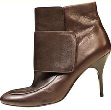fbe22d23186e Lanvin Brown Leather Rounded Toe Ankle Wrap Booties Boots SZ 41 10 9.5 9