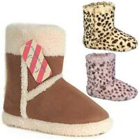 LADIES SLIPPERS BOOTS GIRLS WINTER WARM FUR WOMENS SNUG ANKLE BOOTIE SHOES SIZE