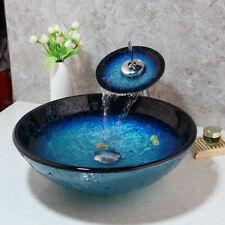 Fa Bathroom Tempered Glass Vanity Sink Bowl Basin + Mixer Faucet Pop Drain Combo