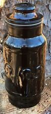 Vintage Style Fleur De Lis Design Amber Brown Glass Apothecary Jar