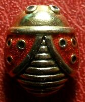 Red & black enameled beetles signed brooch or pins to identify