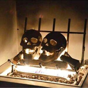 Fireproof Skull Sculpture Halloween Skull Decor Prop Ceramic Ornaments