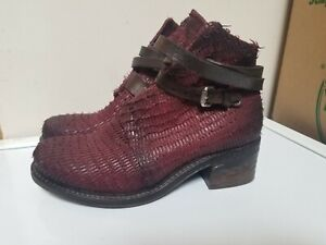 A.S. 98  Women's Leather Cardinal Studded Strap Ankle Boots Size 38
