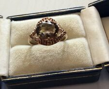 Lovely Ladies Vintage Solid 9 Carat Gold Smokey Quartz Solitaire Ring - P