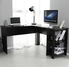 Black L-shaped Computer Desk NEW Corner PC Table Workstation Office Desks Tables