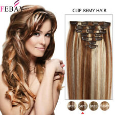 """20"""" Full Head 100% Remy Real Long Straight Clip In Human Hair Extensions 100g"""