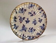 FLOW BLUE Serving Plate: Tulip Pattern w Speckled Gold Trim & Accents - 1900
