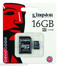 SCHEDA MEMORIA MICROSD 16GB KINGSTON MEMORY CARD MICRO SD + ADATTATORE ADAPTER