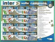 FOGLIETTO INTER TRIPLETTA FRANCOBOLLI SAN MARINO 2009 / 2010 3 volte CAMPIONE