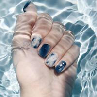 24x Ocean 3D Fake Nails Mid-Long Full Wrapped Tips Bride Artificial False N RAS