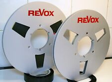 "2 X REVOX RED LOGO METAL NAB HUB REEL TO REELS 10.5"" X 1/4"""