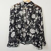 SHEIKE | Womens Floral Print Cut-Out V Blouse [ Size AU 12 or US 8 ]