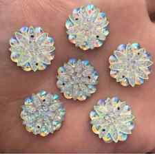 DIY 10PCS 18mm AB Resin flower Rhinestone Flatback Wedding Buttons 2 hole crafts