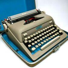 1959 Royal Heritage Portable Manual Typewriter +Case Vtg Art Deco Blue Working!