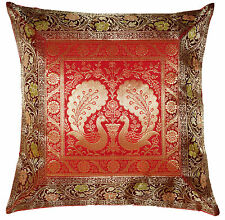 "17"" Pillow Cushion Cover Silk Brocade Handmade Throw Indian Bohemian Decorative"