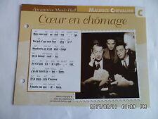 CARTE FICHE PLAISIR DE CHANTER MAURICE CHEVALIER COEUR EN CHOMAGE