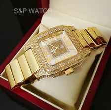 New Mens Rappers Gold Full Iced Out Bling Hip Hop Lab Simulated Diamonds Watch