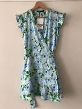 ZARA Blue Floral Print Satin Style Jumpsuit Playsuit Wrap Up Frilled Dress XS