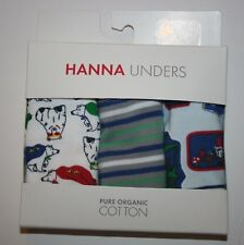 New Hanna Andersson Unders 3 Pack Briefs Boys Underwear Size Large 9-13 yr bear