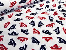 Stoff Baumwolle Jersey Schiffe Schiffchen Maritim Druck weiß rot marine blau