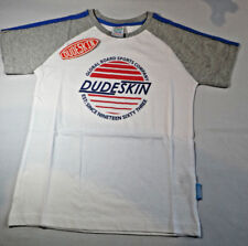 Dudeskin Infant Boys Logo T-Shirt Optic White/Light Grey Size 5-6 Yrs BNWT