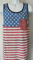 Men's VANS VAN'S FADED AMERICAN FLAG USA TANK Top america united state blue MED