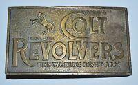 Vintage Large COLT Revolvers The World's Right Arm GUNS Brass Belt Buckle Rare