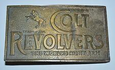 Vintage Large COLT Revolvers The World's Right Arm GUNS Brass Belt Buckle Rare