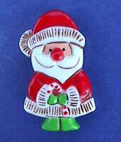 Hallmark PIN Christmas Vintage SANTA CANDY CANE Scrimshaw Look Holiday Brooch