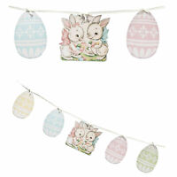 Bethany Lowe Spring Time Sweet Bunnies Easter Garland Sign Retro Home Decoration