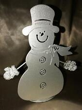 """Silver metal snowman tealight candle holder CHRISTmas winter holiday decor 7"""""""