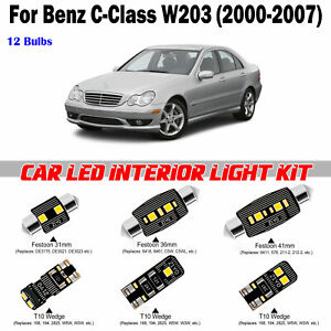 12 Bulbs Super White LED Interior Dome Light Kit For Benz C-Class W203 2000-2007