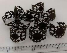 10 Delicate Filigree Bronze RING Base Blanks Finding Settings Cabachon Steampunk