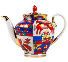 2-Qt Large Teapot. Imperial Lomonosov Porcelain Tea Pot w/ Folk Patterns