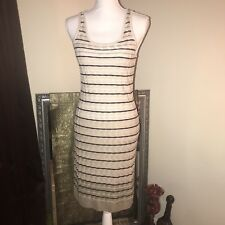 Ann Taylor Loft Tan Ombré Knit Sheath Dress W/ Black Stripes Sz Small