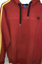 Adidas 3 Stripes Brand Mens Trefoil Cotton Top Casual Hoodie Mens - Red Size XL