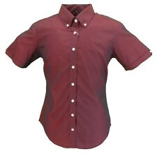Relco Ladies Burgundy Black Tonic Button Down Short Sleeved Shirts