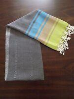 "Rainbow 100% Turkish Cotton Peshtemal Beach Bath Towel 35"" X 68""  Gray"