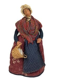 Vintage French, Santons de Provence Terracotta Clay Doll Peasant Woman Signed