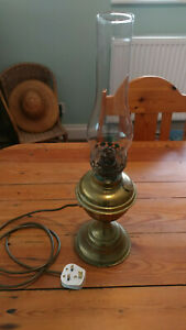 Vintage Brass Oil Lamp Converted to Mains