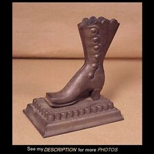 Antique Victorian Cast Iron Boot Table Top Match Safe / Holder