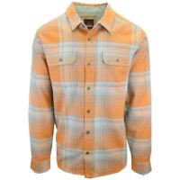prAna Men's Orange Blue L/S Flannel Shirt (S08)
