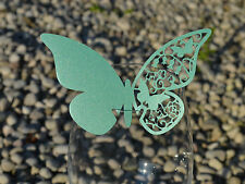 100x farfalle Segnaposto Segnabicchiere VERDE SMERALDO PERLATO matrimonio laser