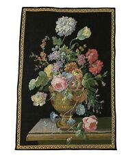 """Decorative Flower Vase Tapestry 18"""" x 13 1/2"""" Black Gold Wall Hanging"""