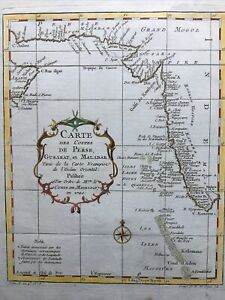 1740, Perse, Gusarat et Malabar Antic Map Carte Couleurs Hand Colored Maurepas