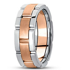 Style Wedding Band Ring 8.5mm Size 6 New Ladies 14k Rose And White Gold Link