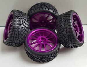 1/10 RC Car on road/rally/touring Alloy Wheels Purple & Tyres x4 block tread
